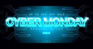 Επιγραφή Δευτέρας Cyber στο διαστρεβλωμένο ύφος δυσλειτουργίας στο μαύρο υπόβαθρο Ψηφιακή πηγή συντακτών, cyber πηγή, διαφήμιση διανυσματική απεικόνιση