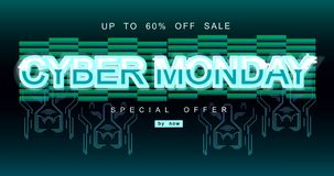 Επιγραφή Δευτέρας Cyber στο διαστρεβλωμένο ύφος δυσλειτουργίας στο μαύρο υπόβαθρο Ψηφιακή πηγή συντακτών, cyber πηγή, διαφήμιση ελεύθερη απεικόνιση δικαιώματος