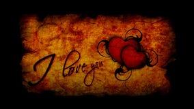 Επιγραφή ημέρας βαλεντίνου σ' αγαπώ με την καρδιά ήττας απόθεμα βίντεο