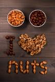 Επιγραφή Ι καρύδια αγάπης, από τα καρύδια, τα ξύλα καρυδιάς, τα αμύγδαλα και φουντούκια και δύο άσπρα φλυτζάνια με τα καρύδια Στοκ Φωτογραφία