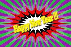 Επιγραφή ` καλή χρονιά ` στο ύφος κινούμενων σχεδίων Στοκ φωτογραφία με δικαίωμα ελεύθερης χρήσης