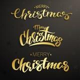 Επιγραφή Καλών Χριστουγέννων Καθορισμένη χρυσή εγγραφή Στοκ εικόνες με δικαίωμα ελεύθερης χρήσης