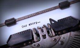 Επιγραφή που γίνεται εκλεκτής ποιότητας από την παλαιά γραφομηχανή Στοκ Εικόνες