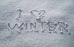 Επιγραφή στο χιόνι Στοκ Εικόνες