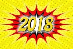 Επιγραφή ` 2018 ` στο ύφος κινούμενων σχεδίων Στοκ Εικόνες
