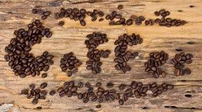 Επιγραφή του καφέ από τα φασόλια καφέ Στοκ φωτογραφία με δικαίωμα ελεύθερης χρήσης