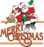 Επιγραφή Χαρούμενα Χριστούγεννας νεραιδών Santa και κοριτσιών Στοκ φωτογραφία με δικαίωμα ελεύθερης χρήσης