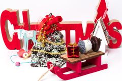 Επιγραφή Χριστουγέννων στο νέο ντεκόρ έτους στοκ φωτογραφία με δικαίωμα ελεύθερης χρήσης