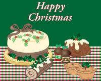 Επιδόρπια τροφίμων Χριστουγέννων σε ένα κόκκινο και πράσινο tabblecloth διανυσματική απεικόνιση