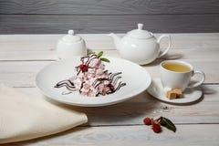 Επιδόρπια pavlova σμέουρων/γλυκά WI επιδορπίων μαρέγκας εύγευστα στοκ εικόνα με δικαίωμα ελεύθερης χρήσης