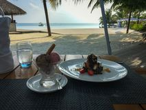 Επιδόρπιο Deliciuos Παγωτό φραουλών και σοκολάτας, σοκολάτα στοκ φωτογραφία με δικαίωμα ελεύθερης χρήσης