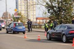 Επιθέσεις της Γαλλίας Παρίσι - επιτήρηση συνόρων με τη Γερμανία Στοκ Φωτογραφίες