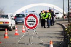 Επιθέσεις της Γαλλίας Παρίσι - επιτήρηση συνόρων με τη Γερμανία Στοκ εικόνες με δικαίωμα ελεύθερης χρήσης