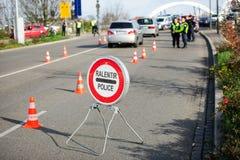 Επιθέσεις της Γαλλίας Παρίσι - επιτήρηση συνόρων με τη Γερμανία Στοκ εικόνα με δικαίωμα ελεύθερης χρήσης