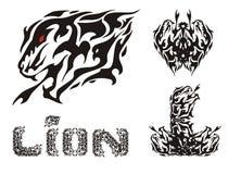 Επιθετικά επικεφαλής σύμβολα λιονταριών και κείμενο λιονταριών ελεύθερη απεικόνιση δικαιώματος