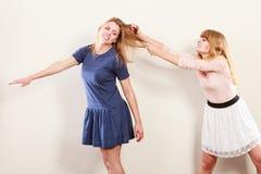 Επιθετικές τρελλές γυναίκες που παλεύουν η μια την άλλη Στοκ Εικόνες