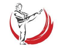 Επιθετικός γρήγορος αθλητής Taekwondo αμυντικού λακτίσματος δράσης στο λογότυπο δράσης Στοκ Φωτογραφία