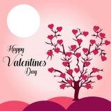Επιθυμία εσείς η διανυσματική απεικόνιση υποβάθρου δέντρων καρδιών ημέρας ενός ευτυχούς βαλεντίνου απεικόνιση αποθεμάτων