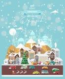 Επιθυμίες Χριστουγέννων από την Αίγυπτο Σύγχρονη διανυσματική ευχετήρια κάρτα στο επίπεδο ύφος με snowflakes, χειμερινή πόλη, δια στοκ εικόνες