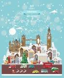 Επιθυμίες Χριστουγέννων από την Αγγλία Σύγχρονη διανυσματική ευχετήρια κάρτα στο επίπεδο ύφος με snowflakes, χειμερινή πόλη, διακ στοκ εικόνες