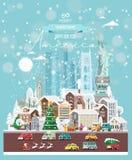 Επιθυμίες Χριστουγέννων από την Αμερική Σύγχρονη διανυσματική ευχετήρια κάρτα στο επίπεδο ύφος με snowflakes, χειμερινή πόλη, δια στοκ φωτογραφία με δικαίωμα ελεύθερης χρήσης