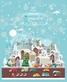 Επιθυμίες Χριστουγέννων από την Ιρλανδία Σύγχρονη διανυσματική ευχετήρια κάρτα στο επίπεδο ύφος με snowflakes, χειμερινή πόλη, δι στοκ εικόνα με δικαίωμα ελεύθερης χρήσης