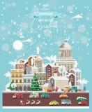 Επιθυμίες Χριστουγέννων από την Κούβα Σύγχρονη διανυσματική ευχετήρια κάρτα στο επίπεδο ύφος με snowflakes, χειμερινή πόλη, διακο στοκ εικόνα με δικαίωμα ελεύθερης χρήσης