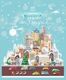 Επιθυμίες Χριστουγέννων από την Πορτογαλία Σύγχρονη διανυσματική ευχετήρια κάρτα στο επίπεδο ύφος με snowflakes, χειμερινή πόλη,  στοκ φωτογραφίες με δικαίωμα ελεύθερης χρήσης