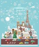 Επιθυμίες Χριστουγέννων από τη Γαλλία Σύγχρονη διανυσματική ευχετήρια κάρτα στο επίπεδο ύφος με snowflakes, χειμερινή πόλη, διακο στοκ φωτογραφία με δικαίωμα ελεύθερης χρήσης