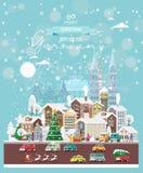 Επιθυμίες Χριστουγέννων από τη Γερμανία Σύγχρονη διανυσματική ευχετήρια κάρτα στο επίπεδο ύφος με snowflakes, χειμερινή πόλη, δια στοκ εικόνες με δικαίωμα ελεύθερης χρήσης