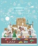 Επιθυμίες Χριστουγέννων από τη Σκωτία Σύγχρονη διανυσματική ευχετήρια κάρτα στο επίπεδο ύφος με snowflakes, χειμερινή πόλη, διακο στοκ εικόνες με δικαίωμα ελεύθερης χρήσης