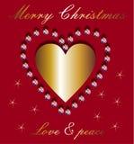 Επιθυμίες Χριστουγέννων και χρυσή καρδιά Στοκ Εικόνες
