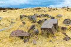 Επικήδειοι πύργοι και καταστροφές σε Sillustani, προϊστορικές καταστροφές του Περού, νότια Αμερική Inca Στοκ φωτογραφίες με δικαίωμα ελεύθερης χρήσης