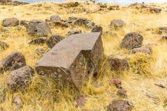 Επικήδειοι πύργοι και καταστροφές σε Sillustani, προϊστορικές καταστροφές του Περού, νότια Αμερική Inca κοντά σε Puno Στοκ Φωτογραφία