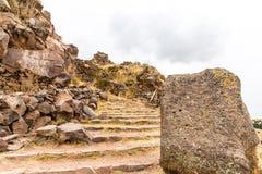 Επικήδειοι πύργοι σε Sillustani, προϊστορικές καταστροφές του Περού, νότια Αμερική Inca Στοκ φωτογραφία με δικαίωμα ελεύθερης χρήσης
