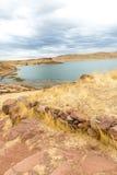 Επικήδειοι πύργοι σε Sillustani, προϊστορικές καταστροφές του Περού, νότια Αμερική Inca κοντά σε Puno, λίμνη Titicaca Στοκ Εικόνες