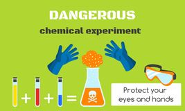 Επικίνδυνο χημικό έμβλημα έννοιας πειράματος, επίπεδο ύφος ελεύθερη απεικόνιση δικαιώματος