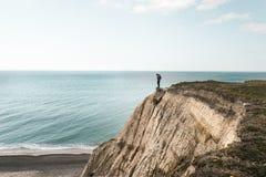 Επικίνδυνος απότομος βράχος Bovbjerg στη βόρεια Γιουτλάνδη Στοκ φωτογραφίες με δικαίωμα ελεύθερης χρήσης