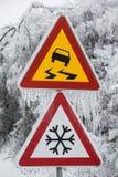 Επικίνδυνος και παγωμένος δρόμος στοκ εικόνες με δικαίωμα ελεύθερης χρήσης