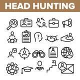 Επικεφαλής γραμμικά διανυσματικά εικονίδια υπηρεσιών κυνηγιού καθορισμένα ελεύθερη απεικόνιση δικαιώματος