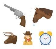 Επικεφαλής ενός αλόγου, ένα κεφάλι ταύρων ` s, ένα περίστροφο, ένα κορίτσι κάουμποϋ Καθορισμένα εικονίδια συλλογής ροντέο στο δια Στοκ Εικόνες