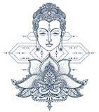 Επικεφαλής και τυποποιημένος λωτός του Βούδα ελεύθερη απεικόνιση δικαιώματος