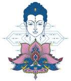 Επικεφαλής και τυποποιημένος λωτός του Βούδα διανυσματική απεικόνιση