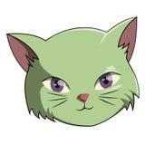 Επικεφαλής πράσινος ο χαριτωμένος γατών απεικόνιση αποθεμάτων
