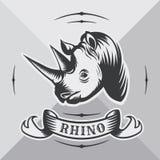 Επικεφαλής ρινόκερος με την εκλεκτής ποιότητας κορδέλλα Στοκ Εικόνα