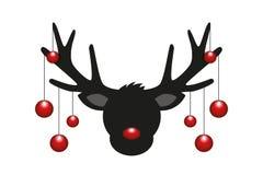 Επικεφαλής σκιαγραφία ταράνδων με την κόκκινη διακόσμηση Χριστουγέννων ελεύθερη απεικόνιση δικαιώματος