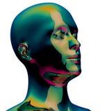 Επικεφαλής σκιαγραφιών μεταλλικός γυαλισμένος πράσινος portret ατόμων τυποποιημένος ελεύθερη απεικόνιση δικαιώματος