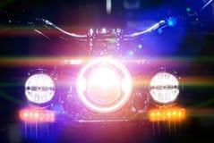 Επικεφαλής φως μοτοσικλετών με την επίδραση φωτισμού προστιθέμενη Στοκ Εικόνες