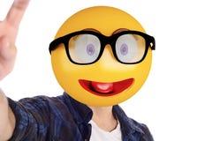 Επικεφαλής άτομο Emoji που παίρνει selfie Στοκ φωτογραφία με δικαίωμα ελεύθερης χρήσης