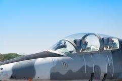 Επικεφαλής αεροπλάνο αεριωθούμενων αεροπλάνων πολεμικό αεροσκάφος F-16 της Βασιλικής Αεροπορίας Στοκ Εικόνες